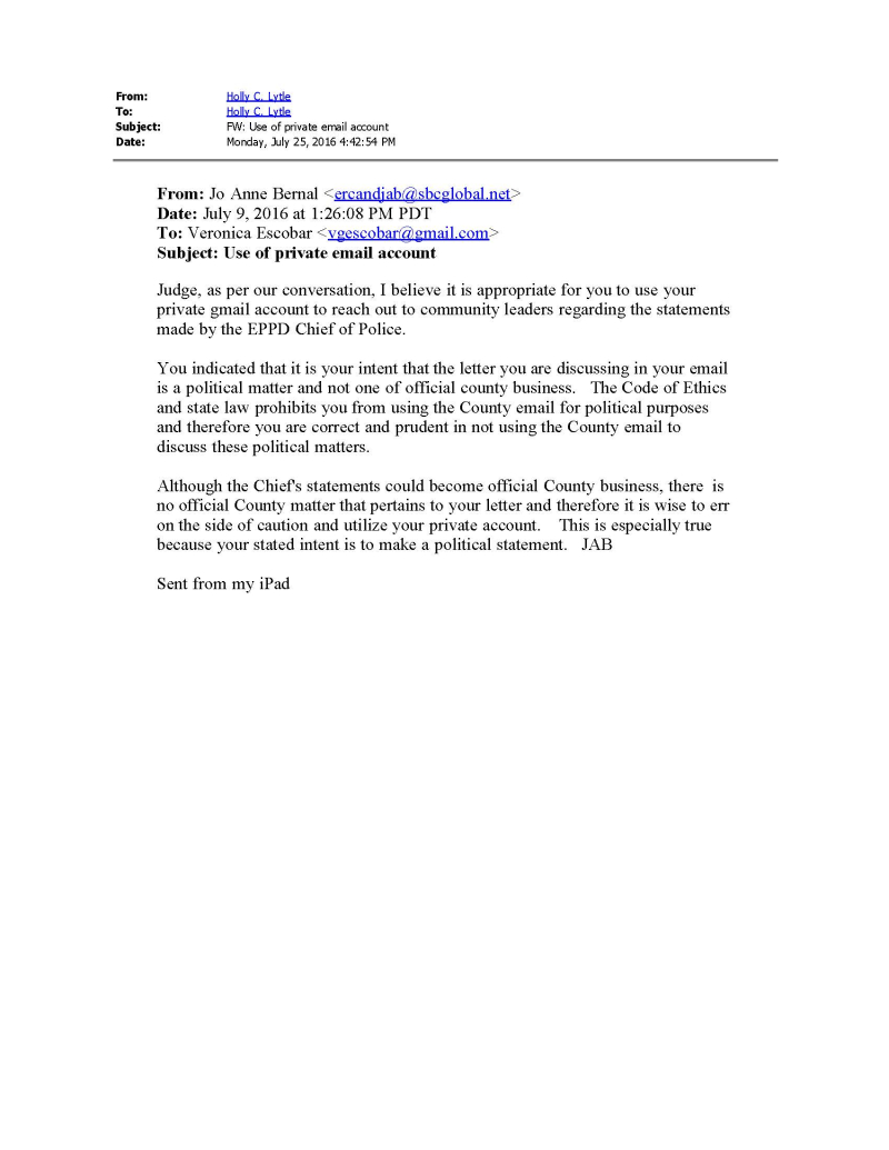 7-9-16 Bernal Email to Escobar
