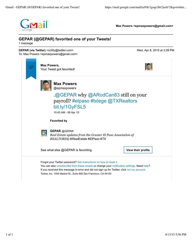 Gmail - GEPAR (@GEPAR) favorited one of your Tweets!