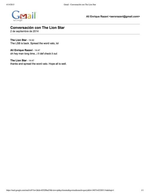 """Preview of """"Gmail - Conversación con The Lion Star"""""""